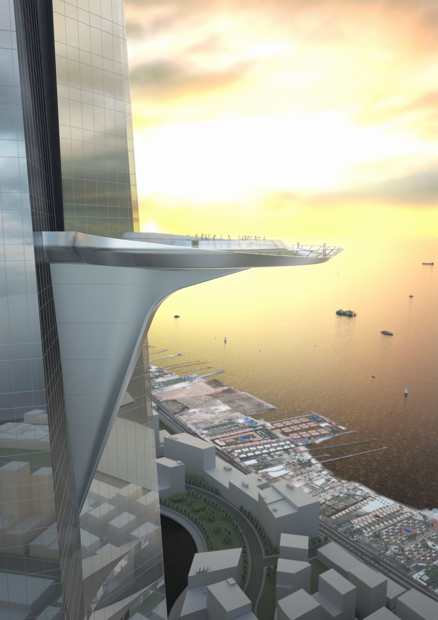 Observatory deck jeddah tower sunrise
